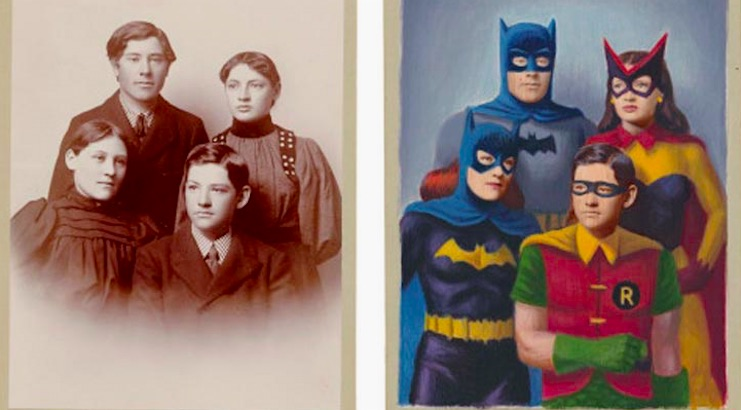 Artist gives old photographs a superhero makeover