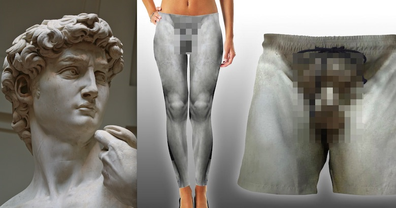 There are leggings and shorts with a full frontal of Michelangelo's 'David'