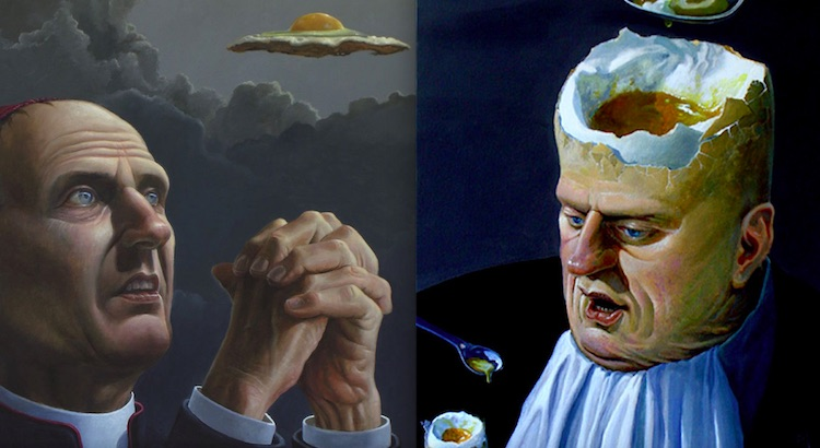 Greedheads, preying priests and oligarchs: The politically-charged surrealist paintings of Ole Fick
