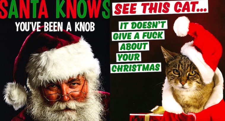 Santa knows when you've been wanking: Rude and offensive Christmas cards (NSFW)