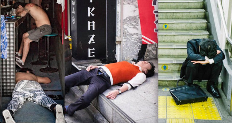 One for the Road: Street photographs of drunk Japanese people