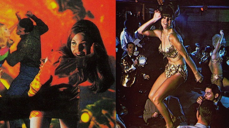 Vintage postcards featuring go-go dancers, beach parties and swinging sixties nightclubs