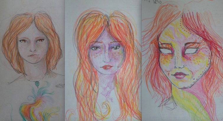 Woman draws self-portraits during LSD trip