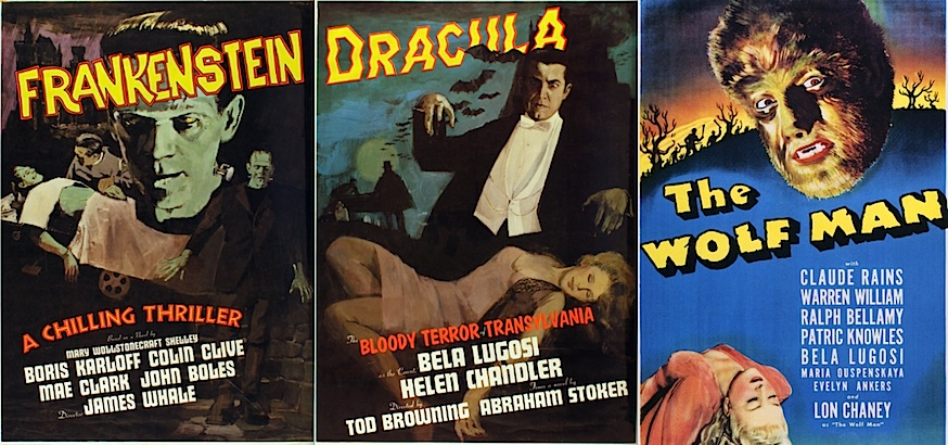 Super 8 'digest' versions of Frankenstein, Dracula & Wolfman movies, the home theatre of the 1960s