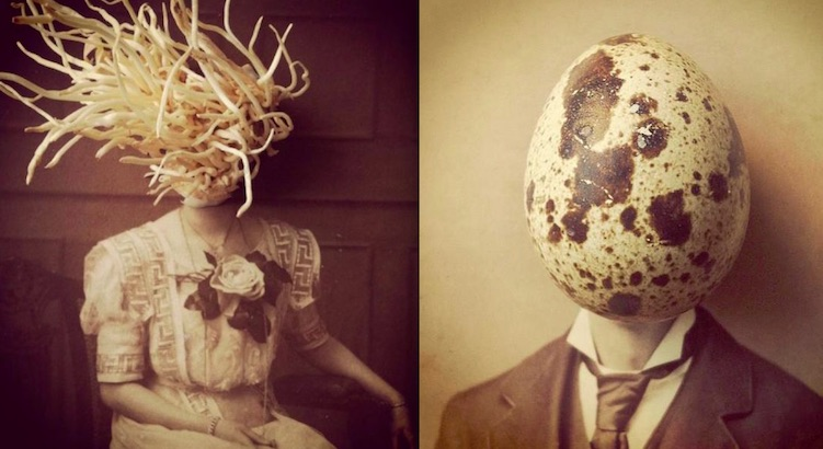 Strange, surreal portraits made from found photographs, food, insects and everyday objects