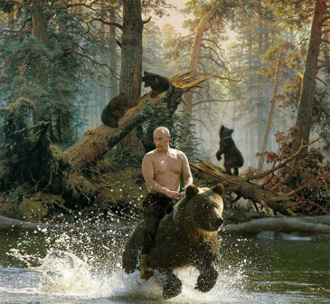 Topless Vladimir Putin riding a bear