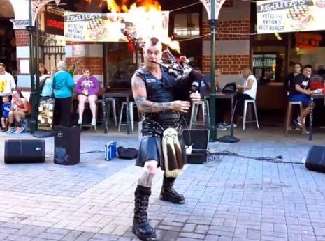 Man plays AC/DC's 'Thunderstruck' on flaming bagpipes