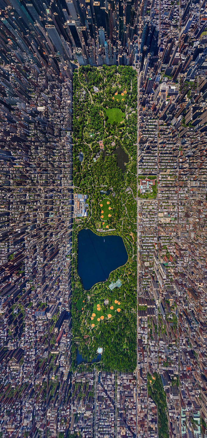 Like you've never seen it before: Impressive aerial view of New York City's Central Park