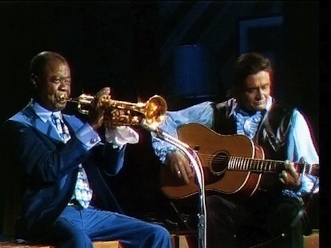 Louis Armstrong and Johnny Cash play together, 1970