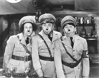 It wasn't Charlie Chaplin who first lampooned Adolf Hitler, it was The Three Stooges