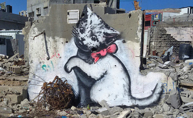 Banksy tours Gaza: creates dark, thought-provoking stencil series and video