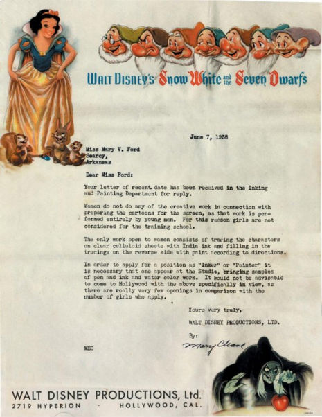 Disney's depressing rejection letter to a woman, 1938