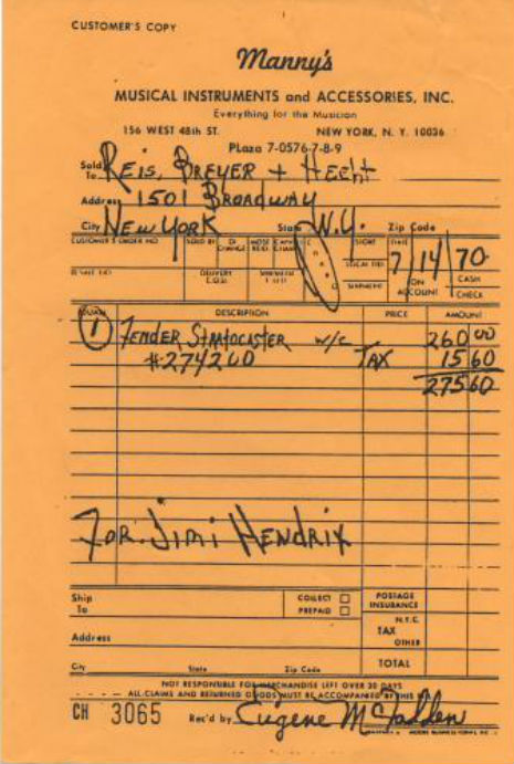 Hendrix receipt 1970