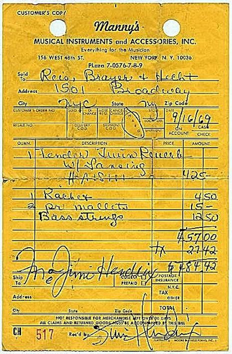 Jimi Hendrix receipt