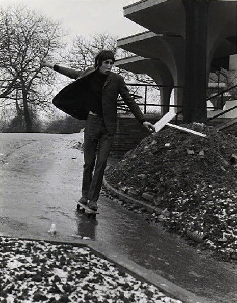 Black and white pictures of famous people on skateboards