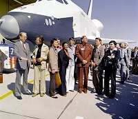 'Star Trek' cast at space shuttle viewing, in glorious 1976 fashions