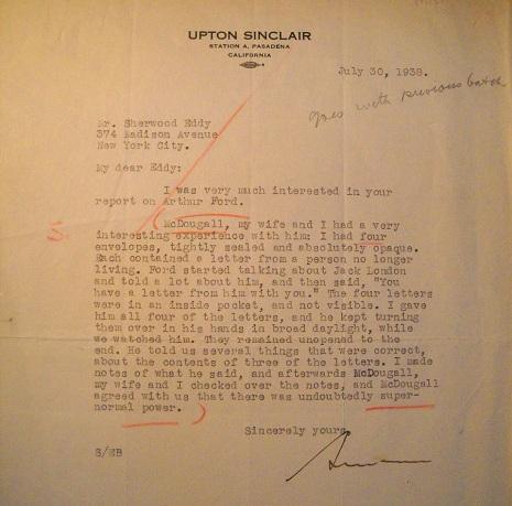 Upton SInclair's letter