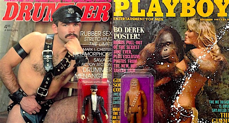 Sex, Drugs & Celebrities: Action figures paired with vintage porn, advertisements & magazine covers