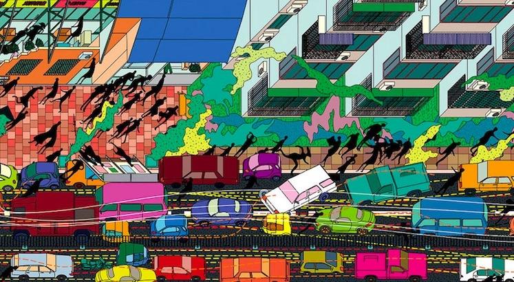 Beautiful panoramic Cubist drawings of China's urbanized landscape