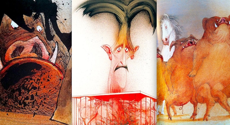 Ralph Steadman's grotesquely brilliant illustrations for Orwell's 'Animal Farm'