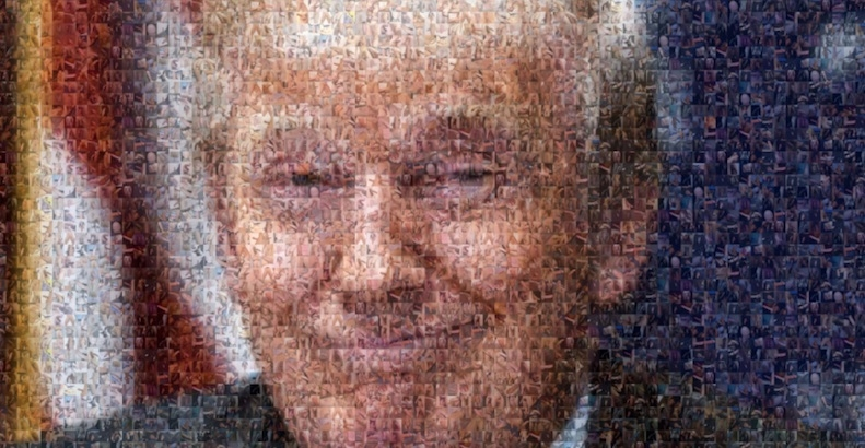 Donald Trump portrait made from 500 pictures of dicks (NSFW-ish)