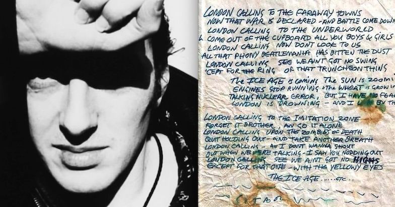 Joe Strummer's original lyrics for 'London Calling'