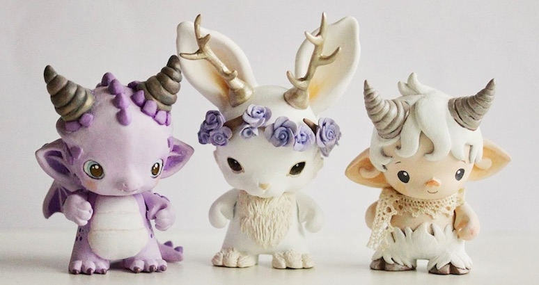 Cute miniature models of Fauns, Jackalopes, Dragons, Daenerys Targaryen, and Unicorns
