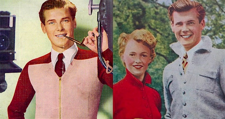 Before James Bond: Roger Moore knitwear model