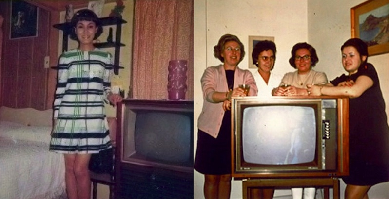 Amusing vintage photos of people posing with their TV sets