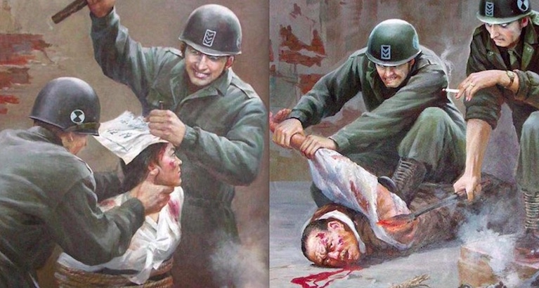 Grisly vintage North Korean anti-American propaganda art