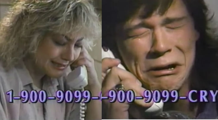 Utterly bizarre commercial for an all-crying 900 phone line