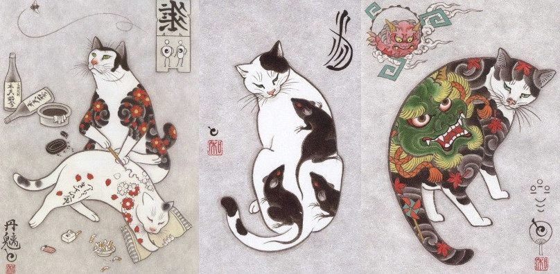 Cat tattoos, tattoo'd cats and tattoo'd cats giving other cats tattoos