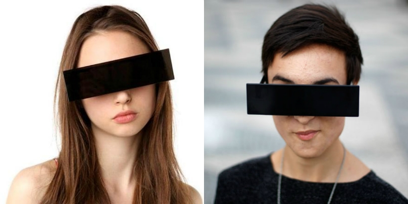 Redact yourself: Identity-protecting censor bar sunglasses black out your eyes