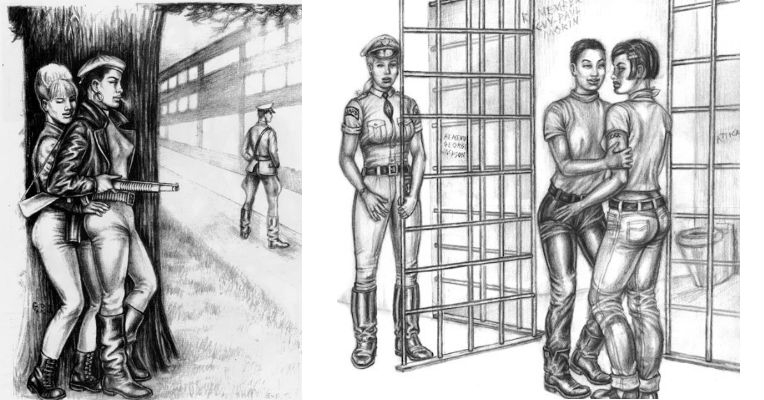 Riot grrrls: Homoerotic Tom of Finland-esque images, only this time for the ladies