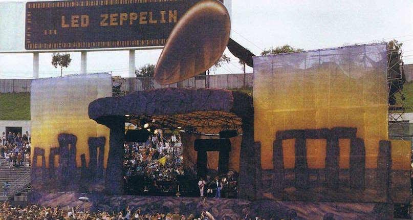 A Stonehenge stage set and backstage violence mark Led Zeppelin's final U.S. concerts, 1977