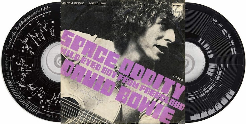 Remarkable set of 'data visualization' 12-inch records of David Bowie's 'Space Oddity'