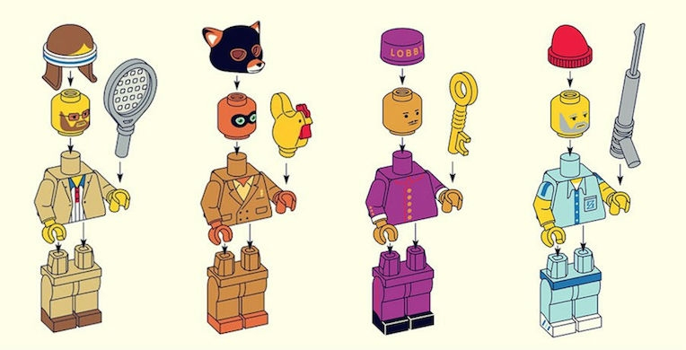 Wes Anderson characters as LEGO figurines