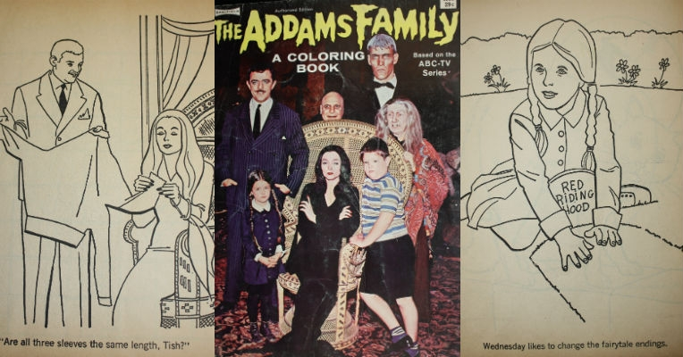 Witty and macabre Addams Family coloring book from 1965