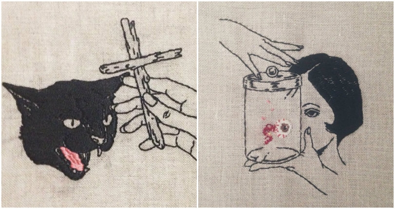 Black cats, black magic, and bad luck: Spellbinding occult-themed embroidery