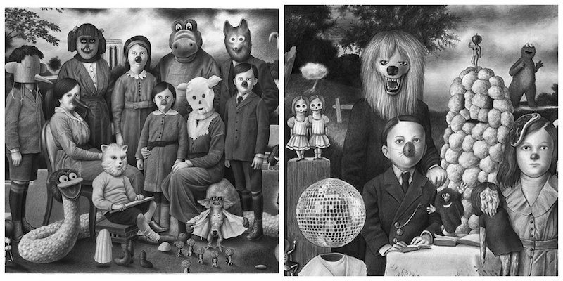 Oddly dreamy and slightly disturbing pencil drawings will delight your inner child