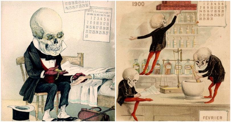 Morbidly amusing vintage illustrations from a calendar advertising a killer medicine!