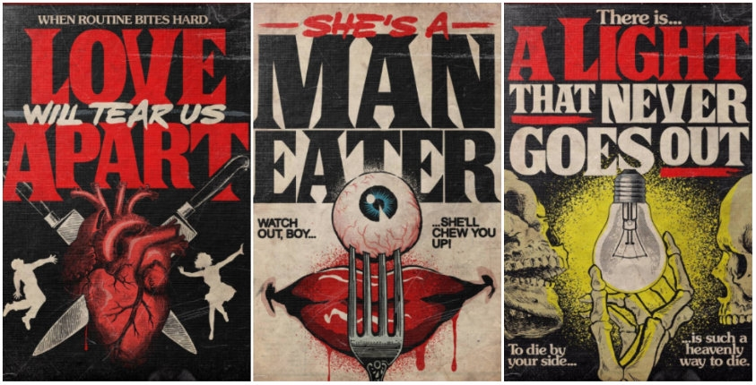 Classic love and heartbreak songs illustrated in the style of Stephen King horror paperbacks