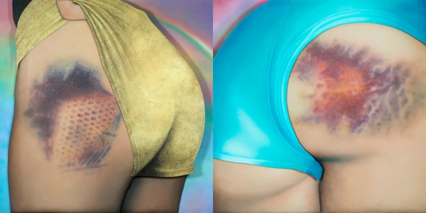 50 Shades of Purple: Stunning paintings of roller derby butts and their bruises!
