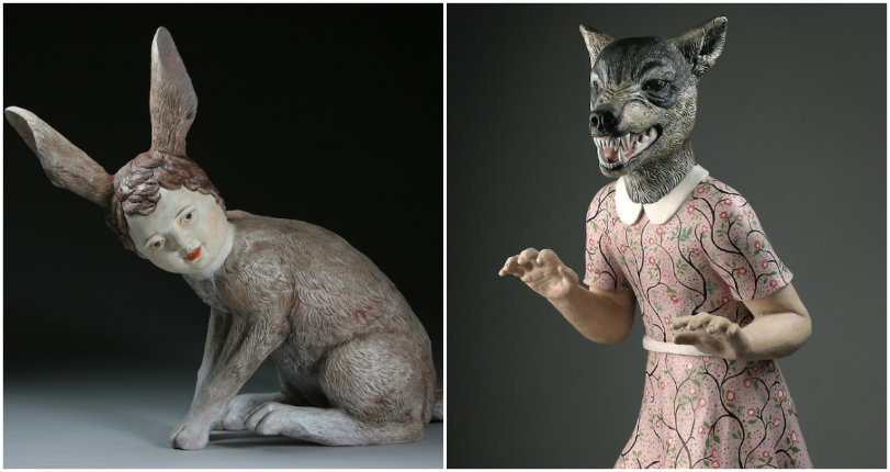 Animal/human hybrid sculptures and other menacing ceramic characters