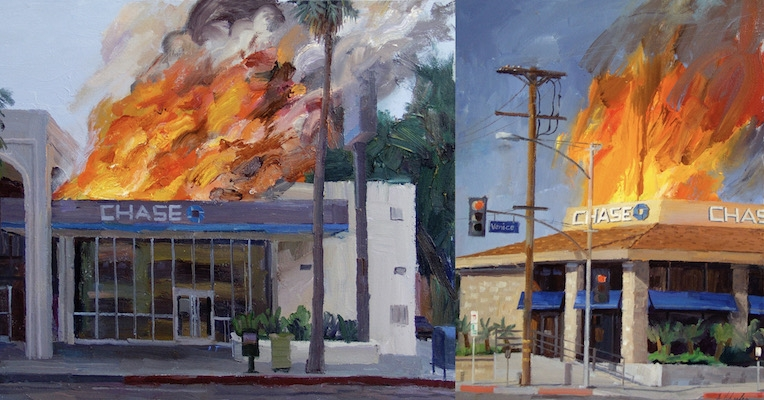 Disaster capitalism: Paintings of Chase Bank burning