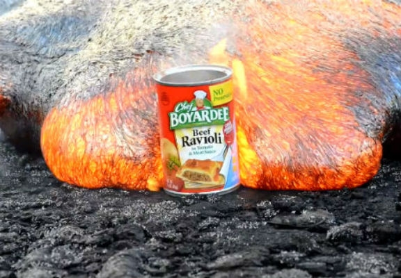 Hypnotic video of molten lava cooking and  then consuming a can of ravioli