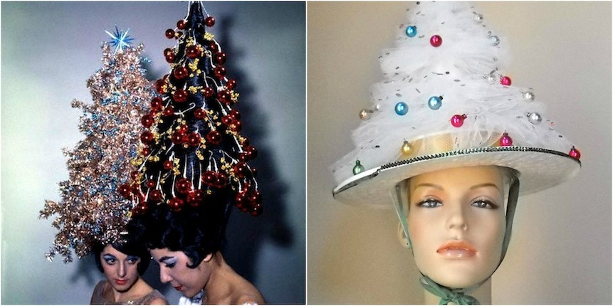 Christmas kitsch: Festive chicks with tricked out Christmas tree hats & hairdos