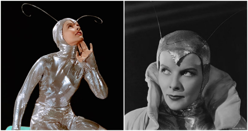 Katharine Hepburn dressed as a super-sexy silver sci-fi insect in 1933