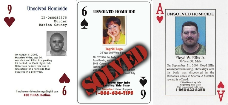 Cold case playing cards highlight unsolved murders