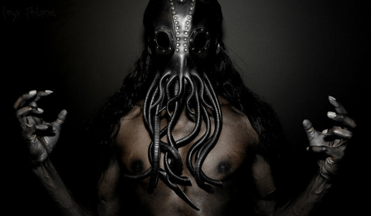 Feed your fictional cosmic entity fetish with these leather 'Cthulhu' masks